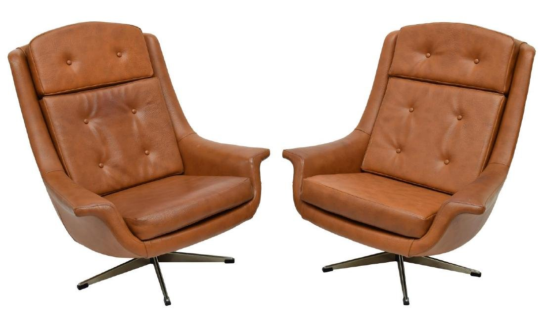 (2) DANISH MID-CENTURY MODERN BROWN CHAIRS