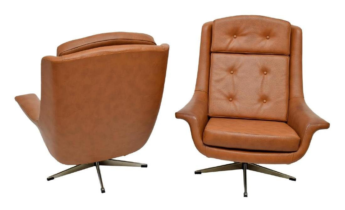 (2) DANISH MID-CENTURY MODERN BROWN CHAIRS - 2