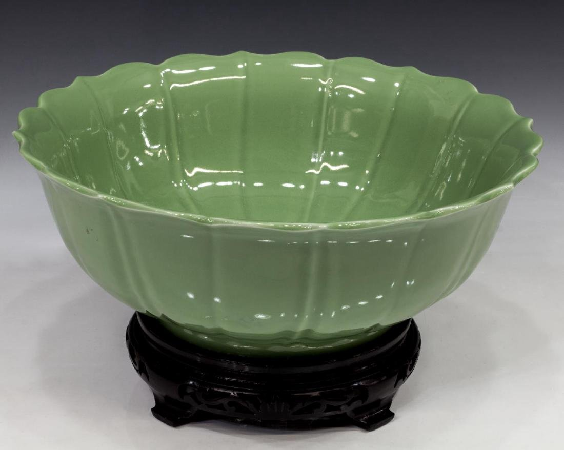 CHINESE CELADON LOTUS FORM BOWL WITH STAND