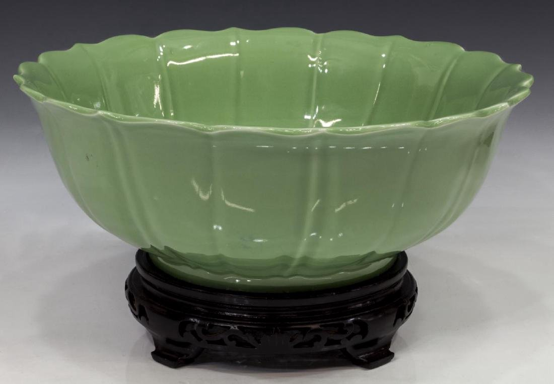 CHINESE CELADON LOTUS FORM BOWL WITH STAND - 2