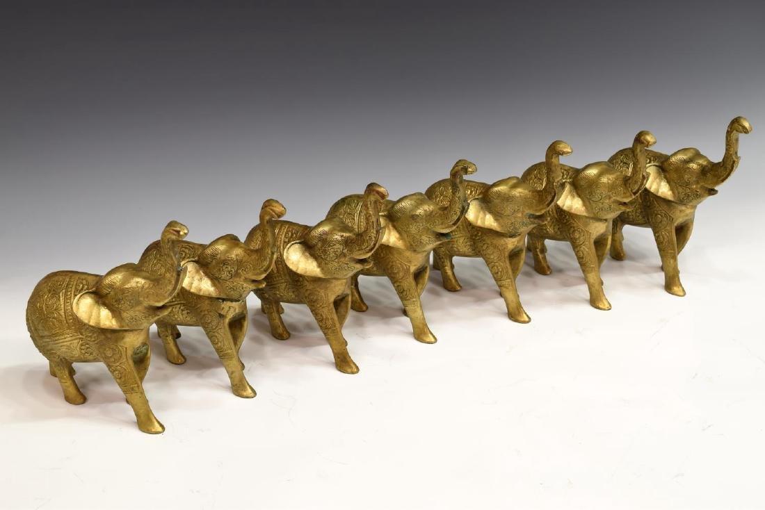 (7) DECORATIVE INCISED BRASS ELEPHANTS