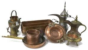 (10) COLLECTION COPPER & METAL TABLE ITEMS
