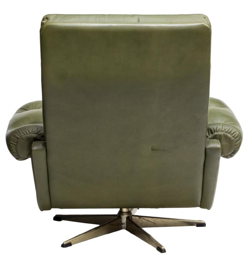 DANISH MID-CENTURY MODERN GREEN LEATHER ARMCHAIR - 3