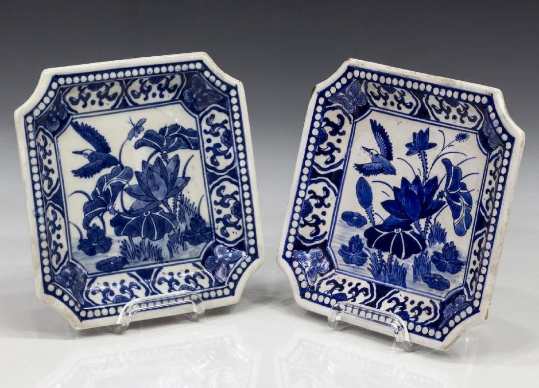 (2) CHINESE BLUE & WHITE PORCELAIN SQUARE PLATES