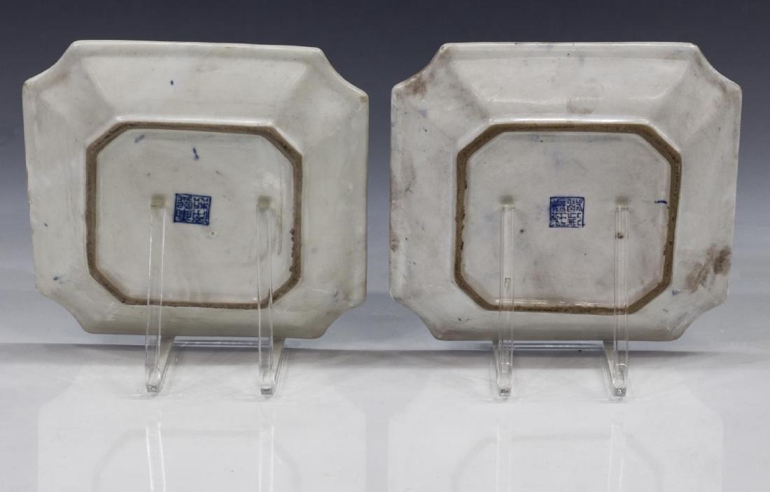 (2) CHINESE BLUE & WHITE PORCELAIN SQUARE PLATES - 3