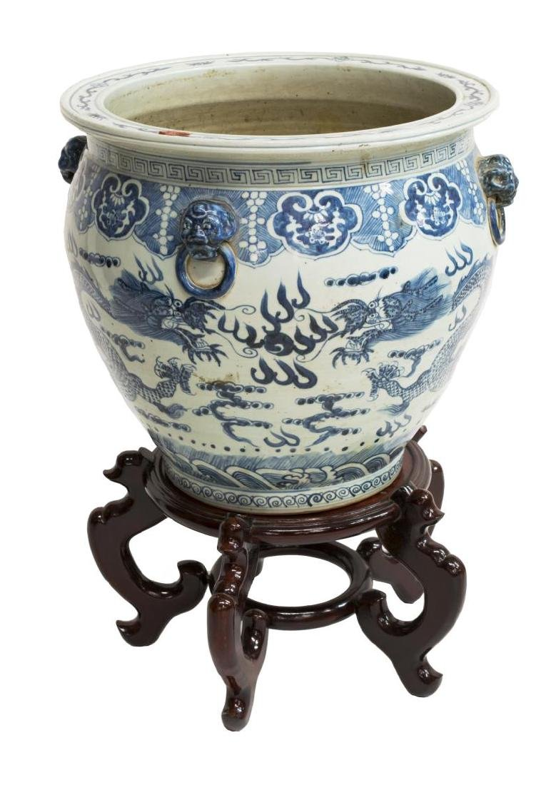 Large blue white porcelain fish bowl on stand for Large fish bowl