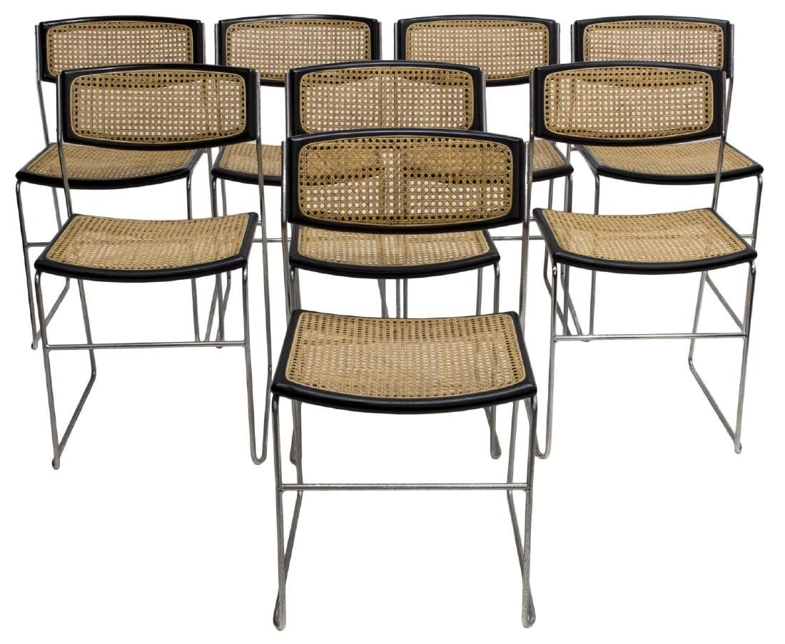 (8) ITALIAN MODERN CHROME FRAMED STACKING CHAIRS