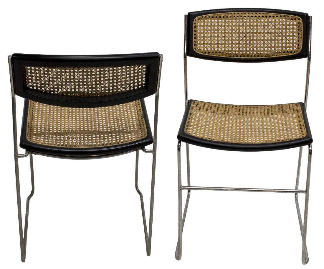 (8) ITALIAN MODERN CHROME FRAMED STACKING CHAIRS - 2