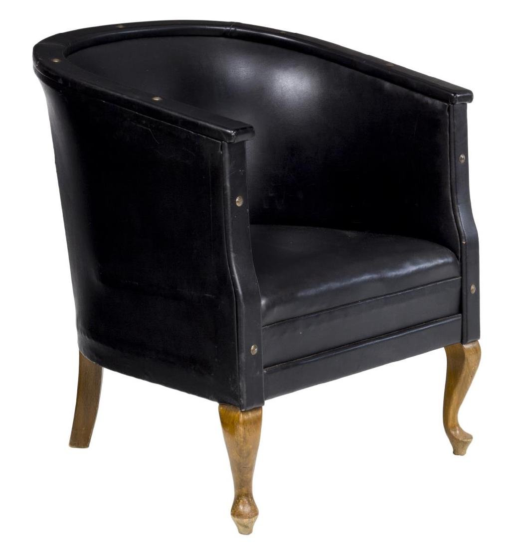 DANISH BLACK LEATHER LOUNGE ARMCHAIR