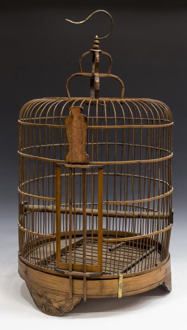 ASIAN BENT & CARVED WOOD HANGING BIRDCAGE