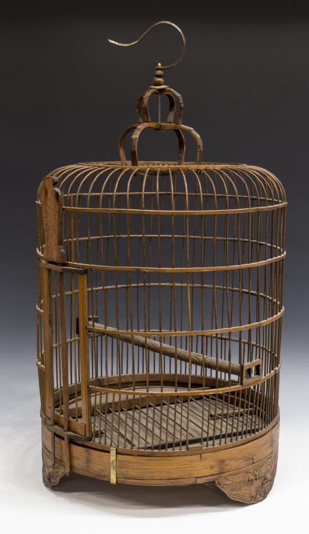ASIAN BENT & CARVED WOOD HANGING BIRDCAGE - 2