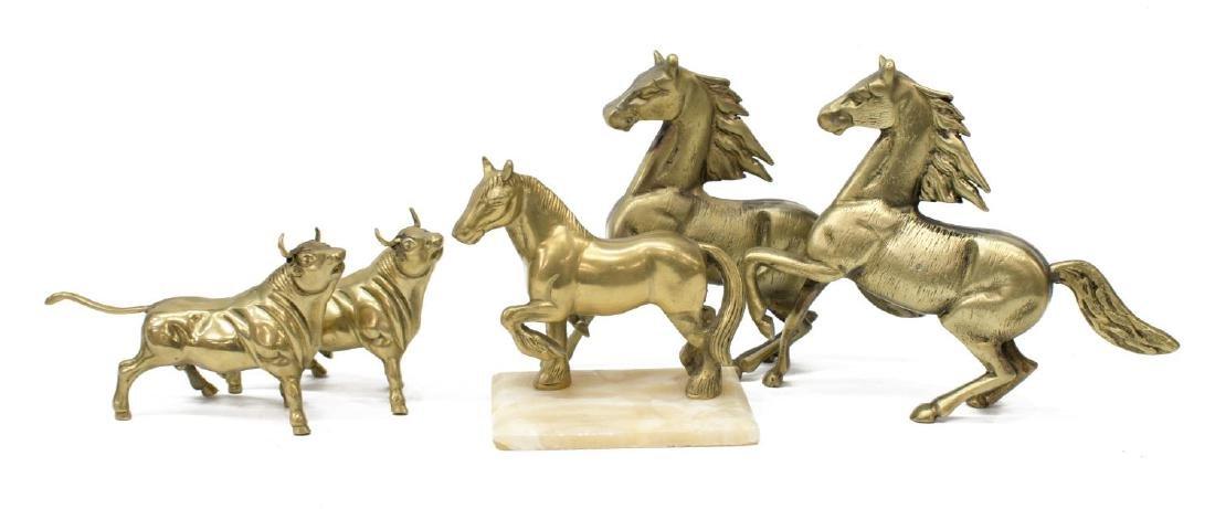 (5) DECORATIVE BRASS HORSES & BULLS