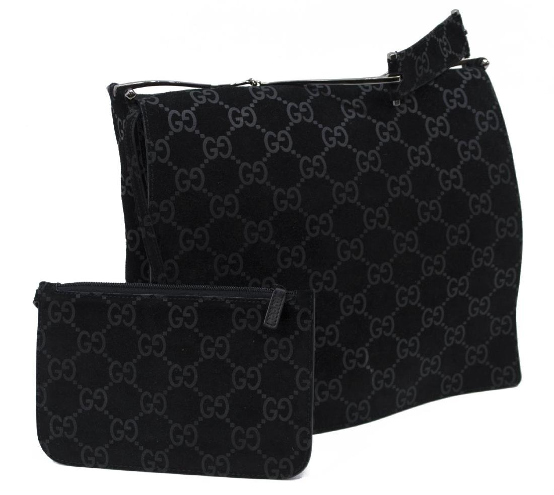 GUCCI MONOGRAM BLACK SUEDE & LEATHER SHOULDER BAG