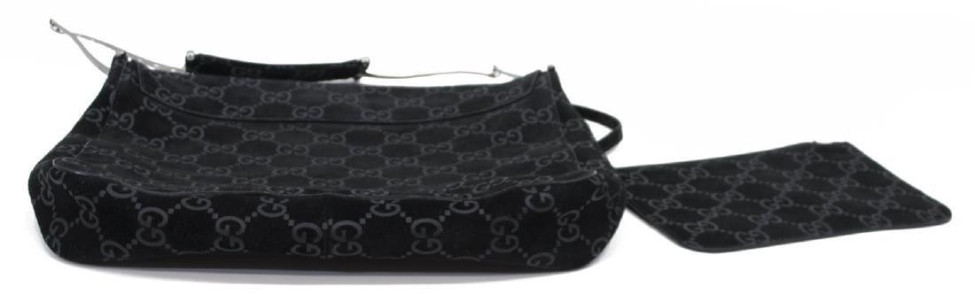 GUCCI MONOGRAM BLACK SUEDE & LEATHER SHOULDER BAG - 3