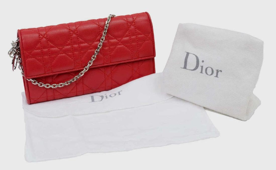 DIOR 'RENDEZVOUS' RED CANNAGE LEATHER CHAIN WALLET