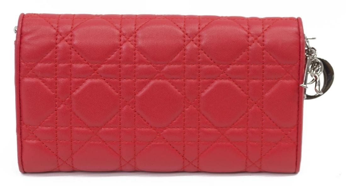 DIOR 'RENDEZVOUS' RED CANNAGE LEATHER CHAIN WALLET - 2