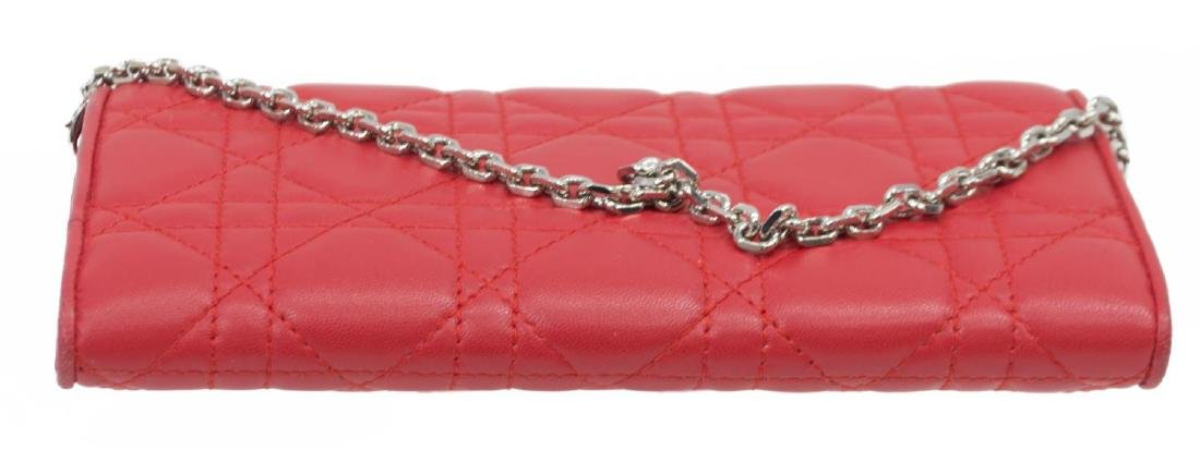 DIOR 'RENDEZVOUS' RED CANNAGE LEATHER CHAIN WALLET - 3