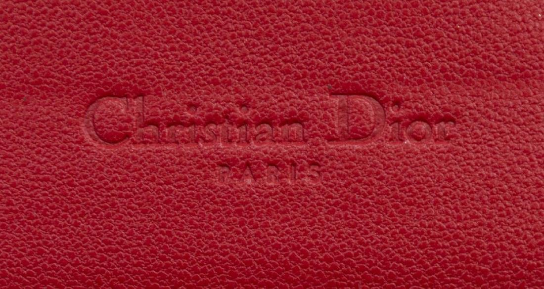 DIOR 'RENDEZVOUS' RED CANNAGE LEATHER CHAIN WALLET - 4