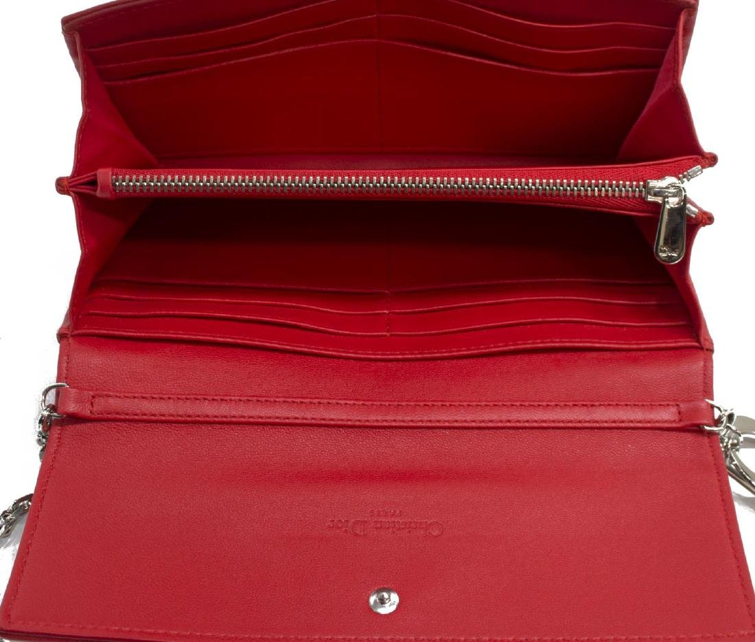 DIOR 'RENDEZVOUS' RED CANNAGE LEATHER CHAIN WALLET - 5