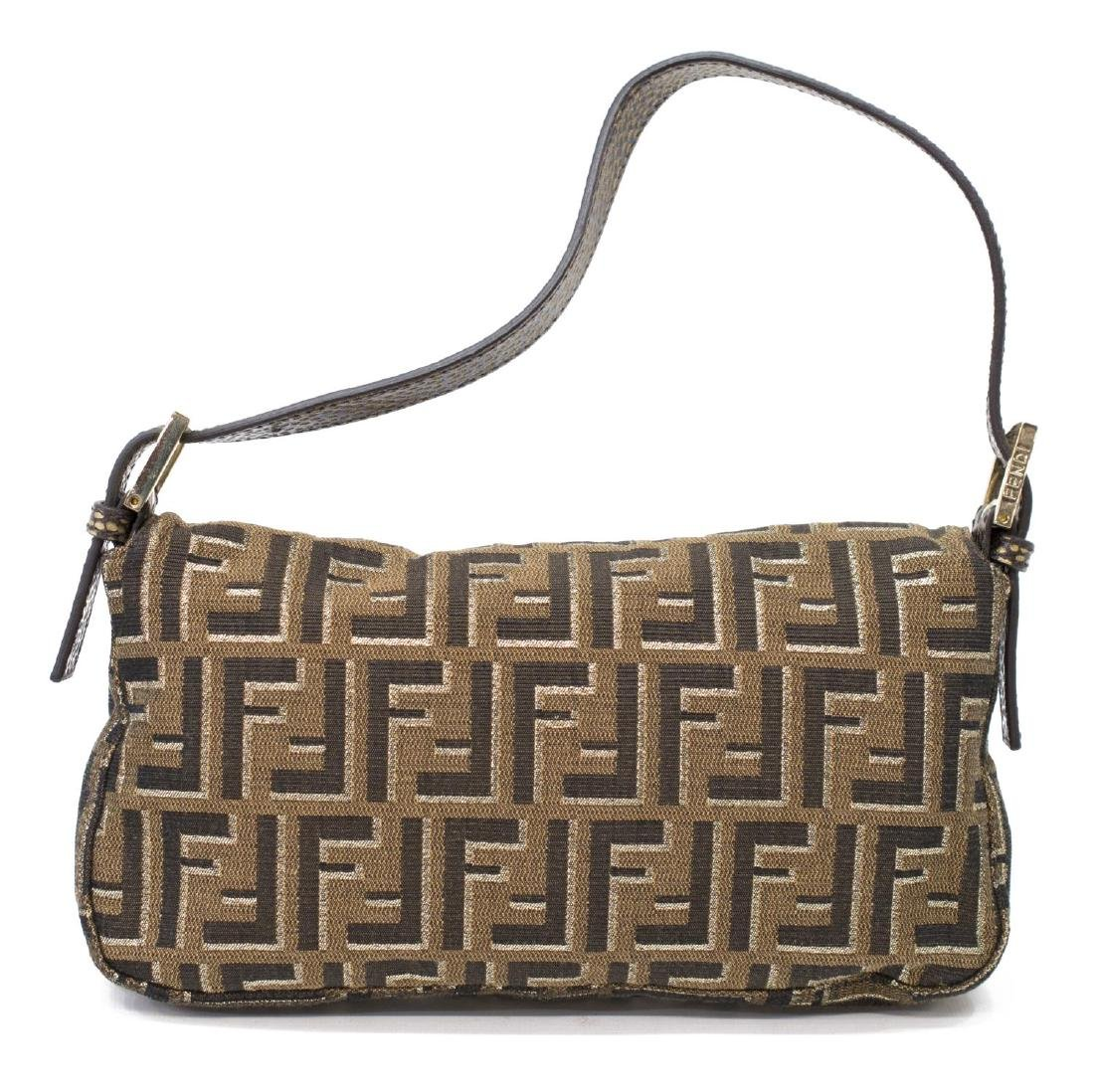 FENDI GOLD ZUCCA MONOGRAM BAGUETTE SHOULDER BAG - 2