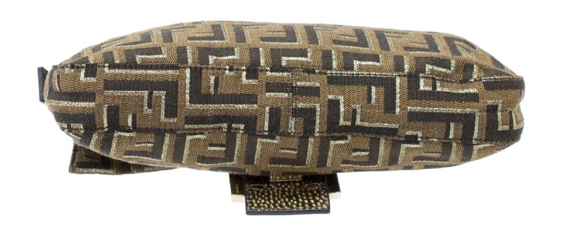 FENDI GOLD ZUCCA MONOGRAM BAGUETTE SHOULDER BAG - 3