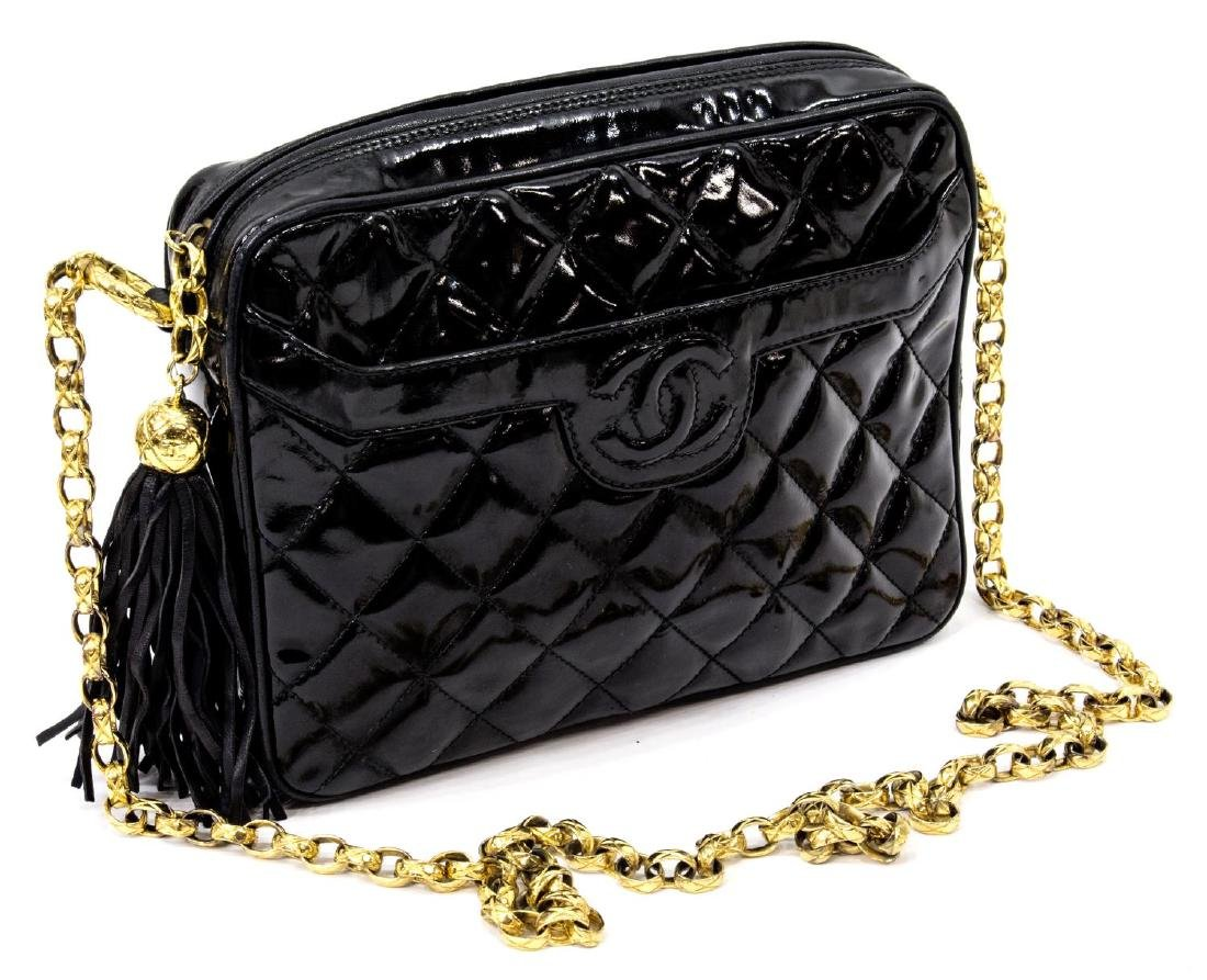 VINTAGE CHANEL BLACK PATENT QUILTED LEATHER BAG