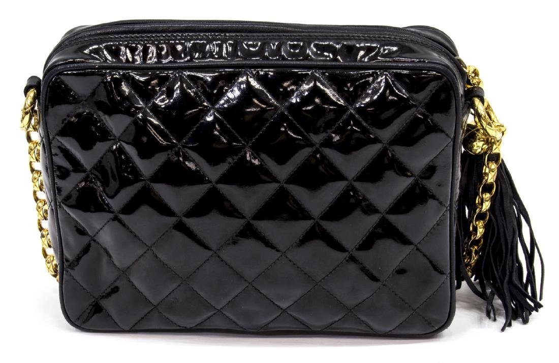 VINTAGE CHANEL BLACK PATENT QUILTED LEATHER BAG - 2