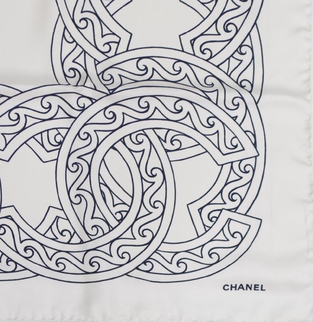 CHANEL CREAM & BLACK LOGO SILK TWILL SCARF - 3