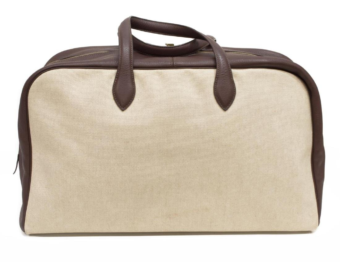 HERMES BROWN LEATHER & CANVAS VICTORIA TRAVEL BAG - 2
