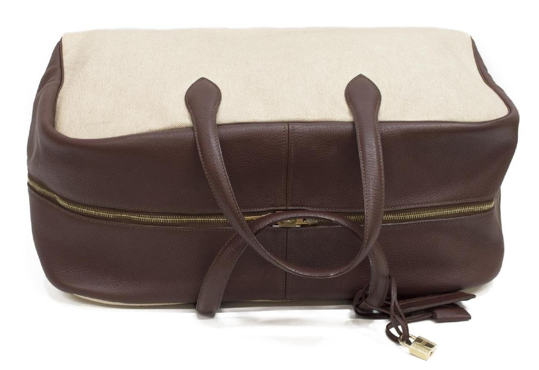 HERMES BROWN LEATHER & CANVAS VICTORIA TRAVEL BAG - 4