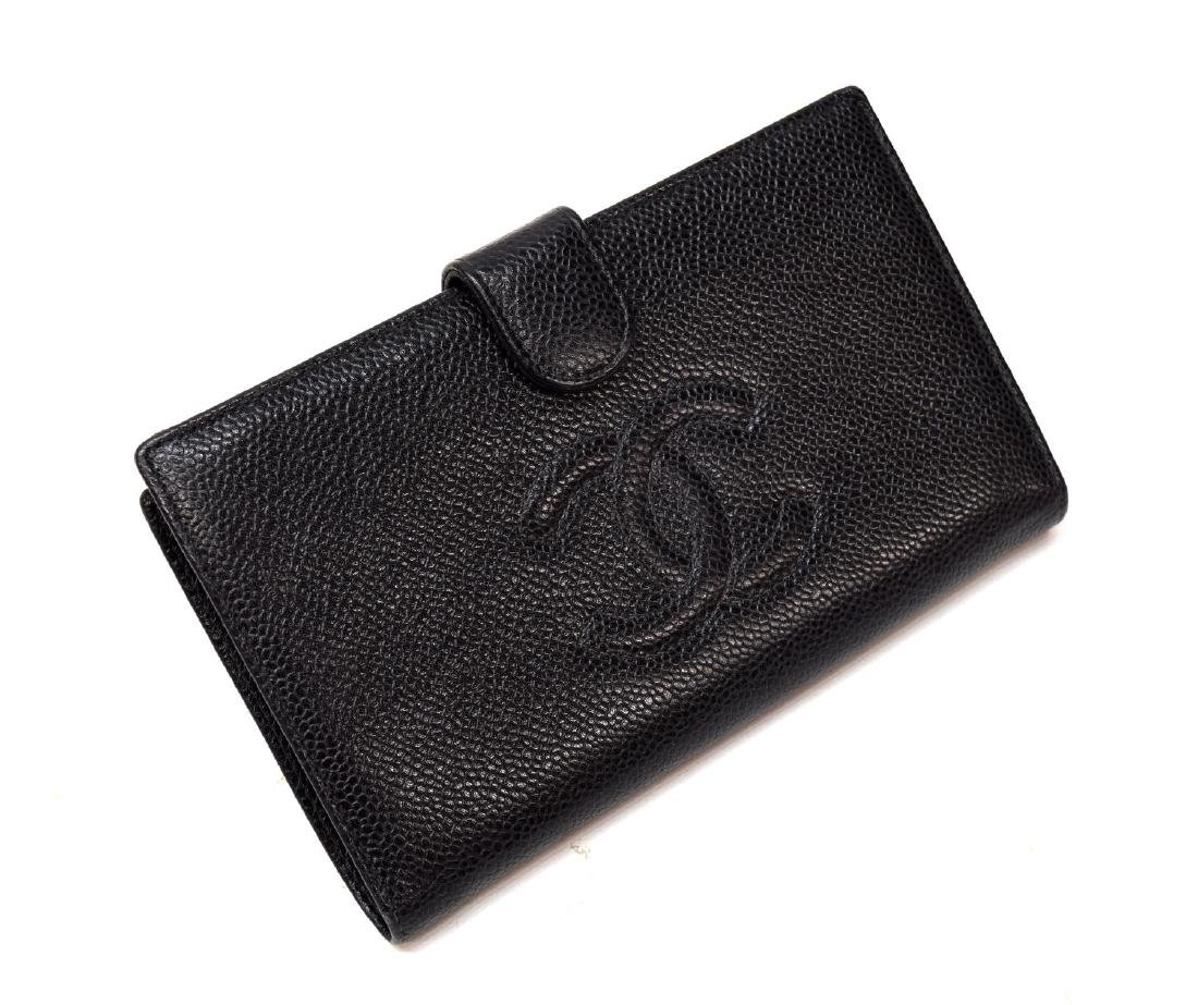 CHANEL BLACK CAVIAR LEATHER LONG FRONT WALLET