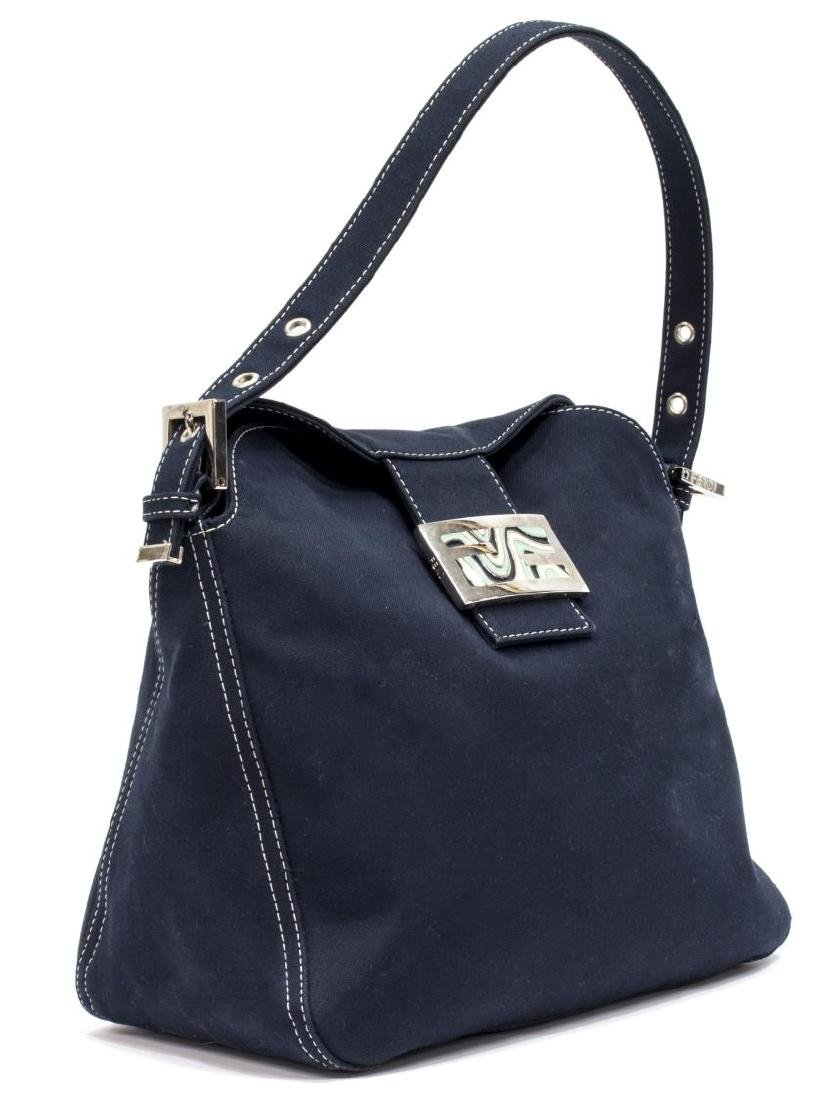 FENDI NAVY CANVAS SINGLE STRAP SHOULDER BAG