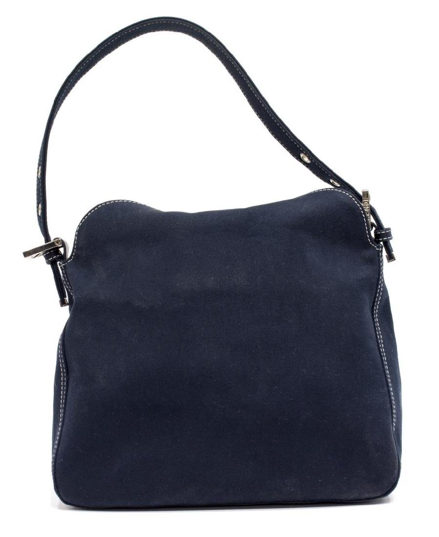 FENDI NAVY CANVAS SINGLE STRAP SHOULDER BAG - 2