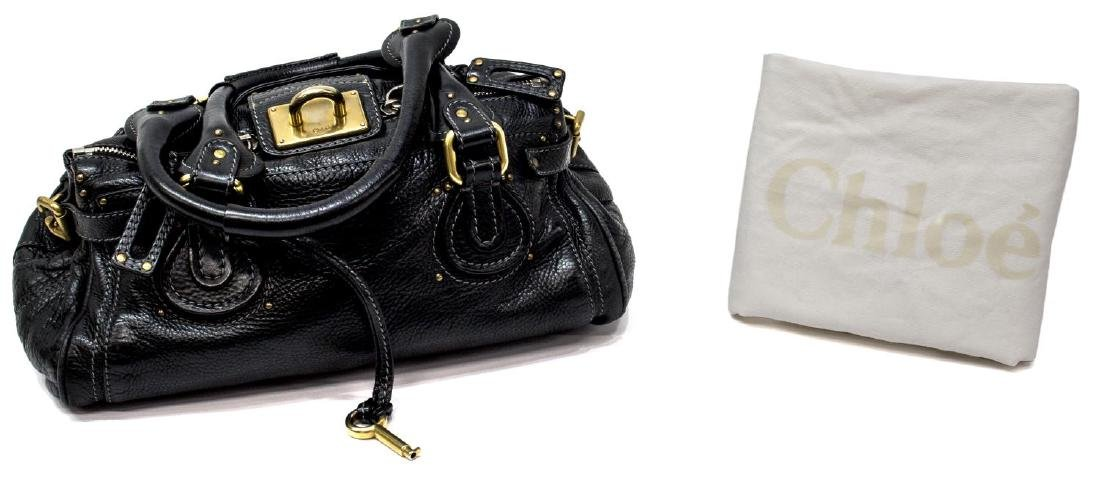 CHLOE 'PADDINGTON MM' BLACK LEATHER SHOULDER BAG
