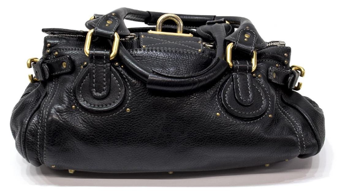 CHLOE 'PADDINGTON MM' BLACK LEATHER SHOULDER BAG - 2