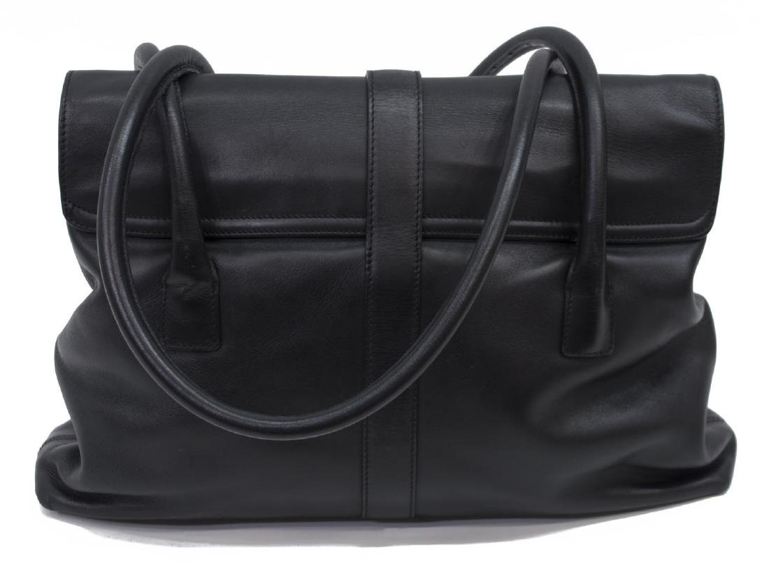CHANEL BLACK SMOOTH LEATHER TOTE SHOULDER BAG - 2