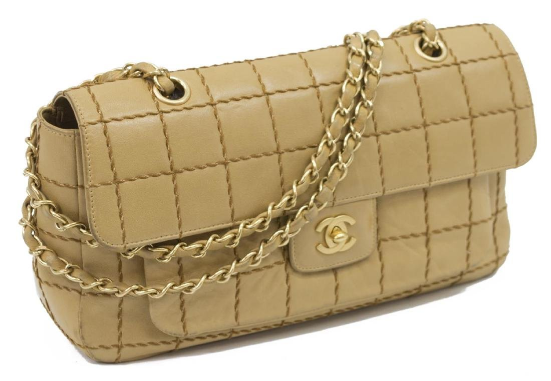 CHANEL SINGLE FLAP TAN QUILT LEATHER SHOULDER BAG