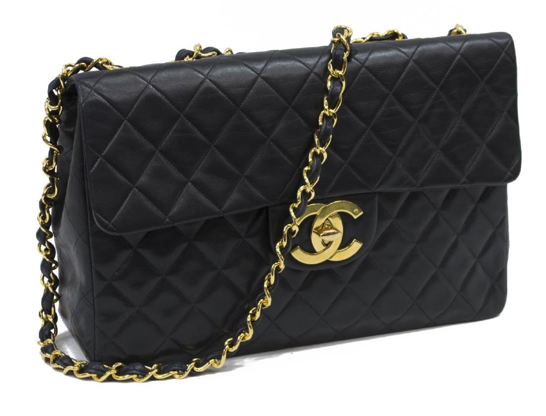 CHANEL 'JUMBO MAXI' BLACK QUILTED LEATHER BAG