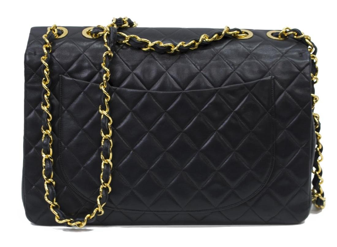 CHANEL 'JUMBO MAXI' BLACK QUILTED LEATHER BAG - 2