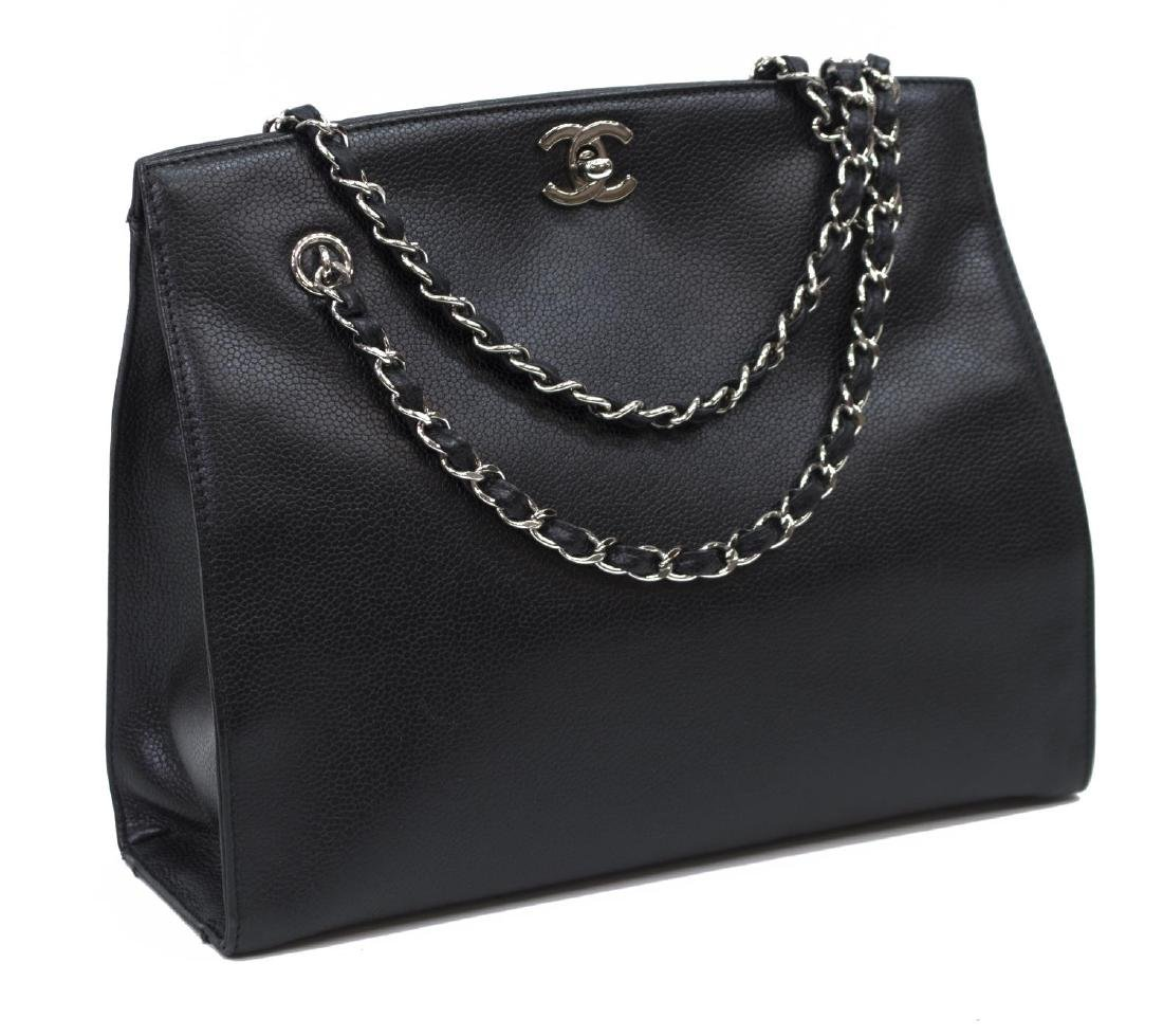 CHANEL BLACK CAVIAR LEATHER SHOULDER TOTE BAG