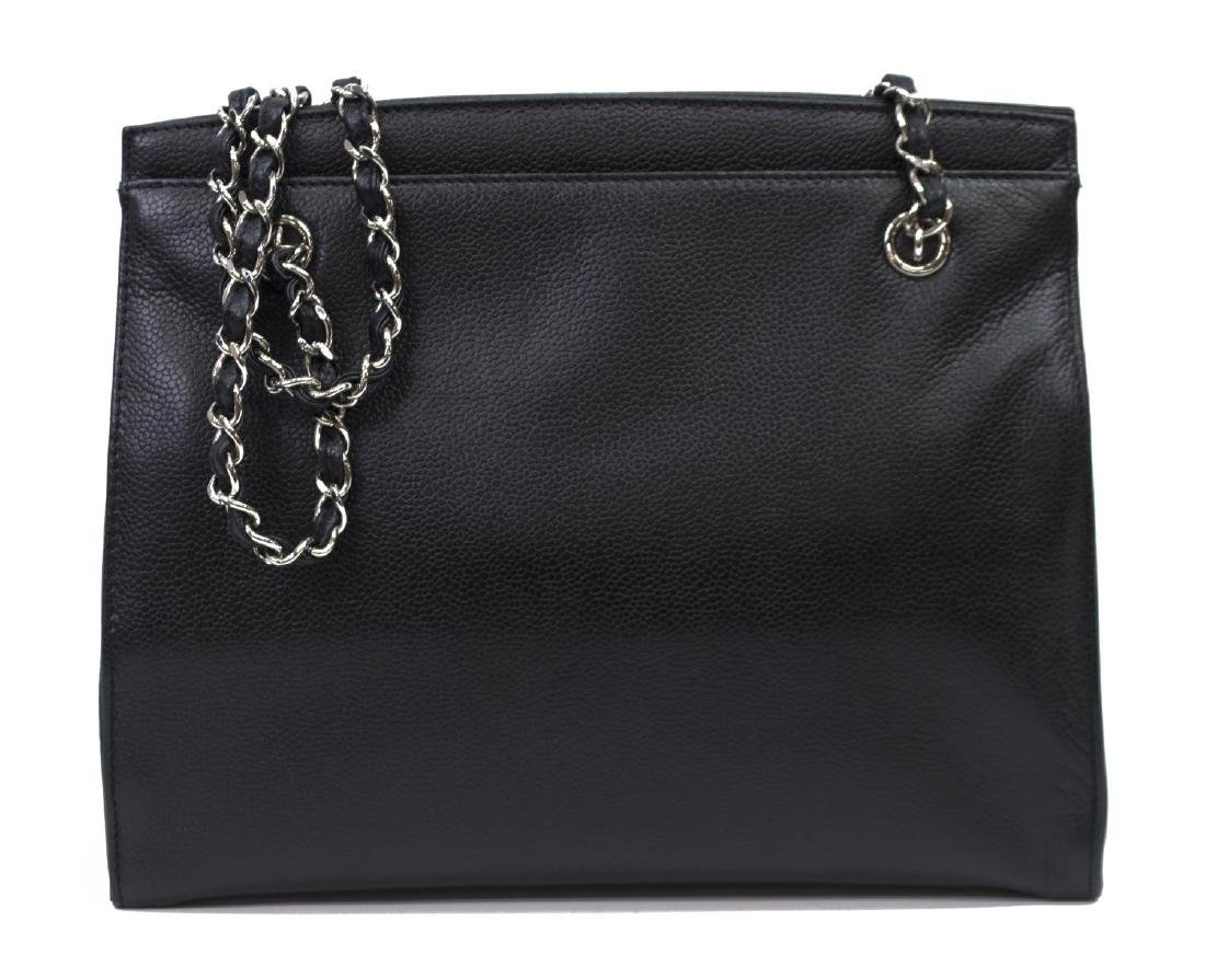 CHANEL BLACK CAVIAR LEATHER SHOULDER TOTE BAG - 2