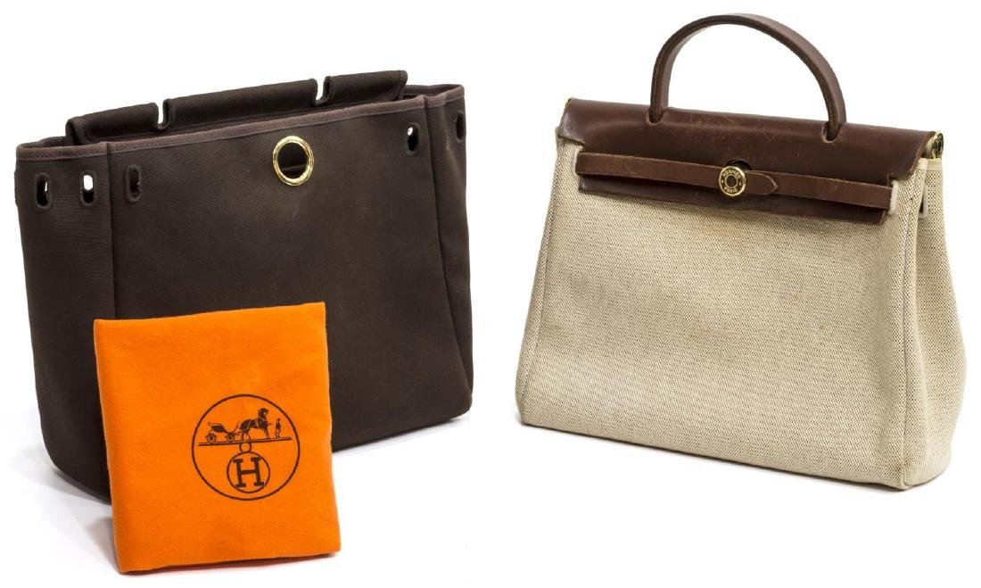 (2) HERMES 'HERBAG' CHANGEABLE CANVAS SHOULDER BAG