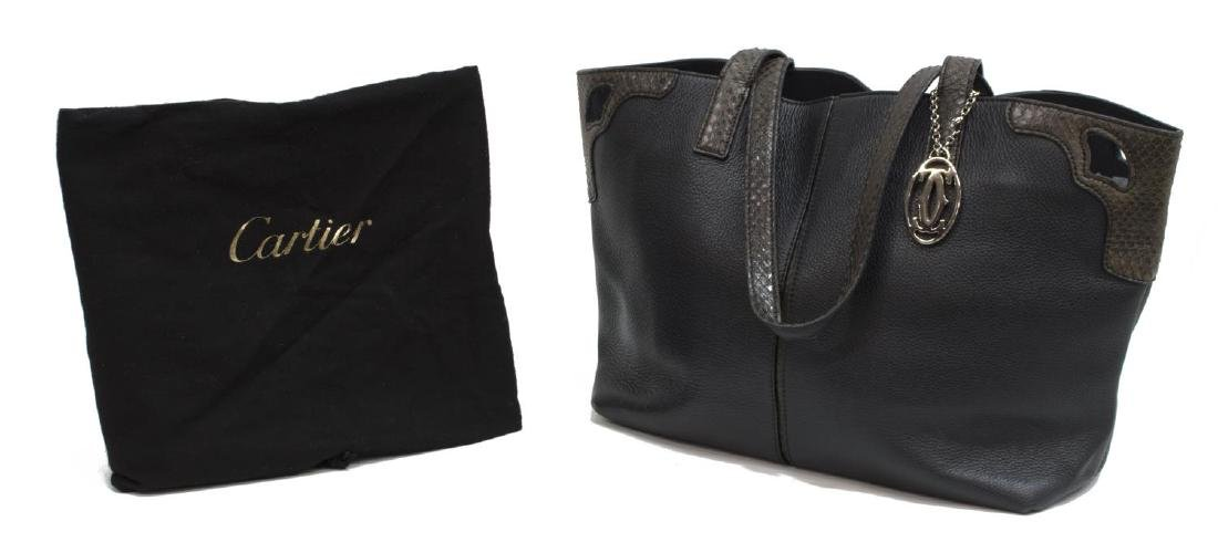 CARTIER PYTHON & LEATHER DOUBLE HANDLED TOTE BAG