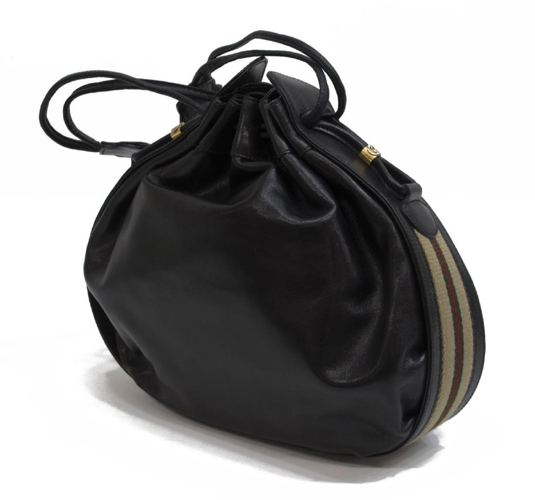 GUCCI BLACK LEATHER & WEB DRAWSTRING HOBO BAG