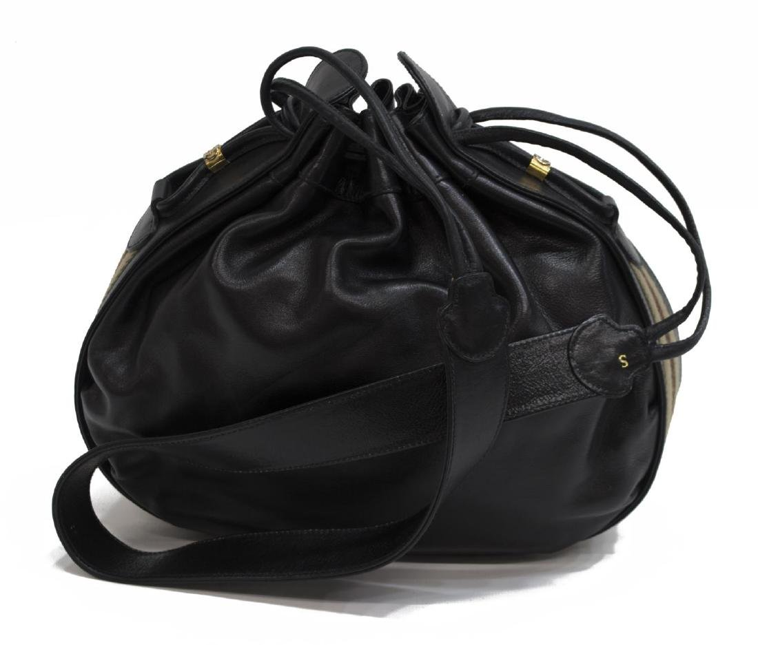 GUCCI BLACK LEATHER & WEB DRAWSTRING HOBO BAG - 2