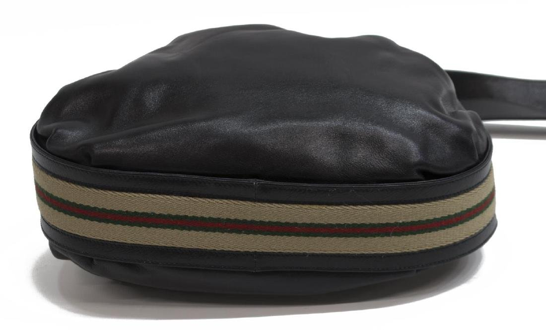 GUCCI BLACK LEATHER & WEB DRAWSTRING HOBO BAG - 3