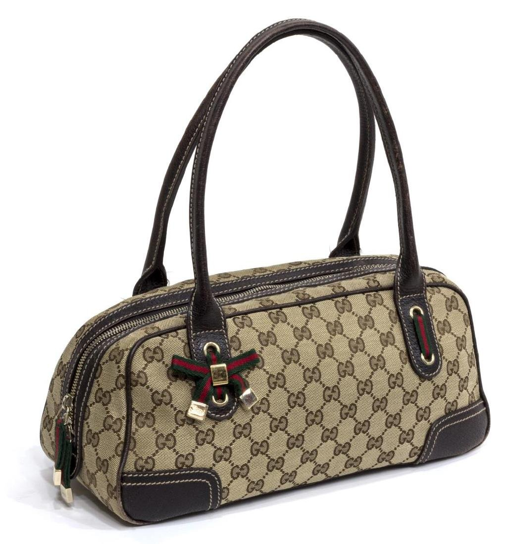 GUCCI PRINCY BOW BOSTON MONOGRAM CANVAS HANDBAG