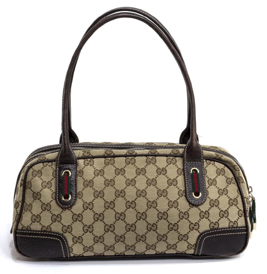 GUCCI PRINCY BOW BOSTON MONOGRAM CANVAS HANDBAG - 2