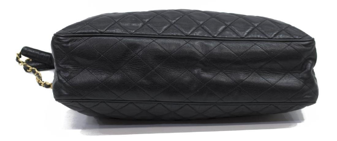 LARGE CHANEL QUILTED SMOOTH BLACK LEATHER TOTEBAG - 3