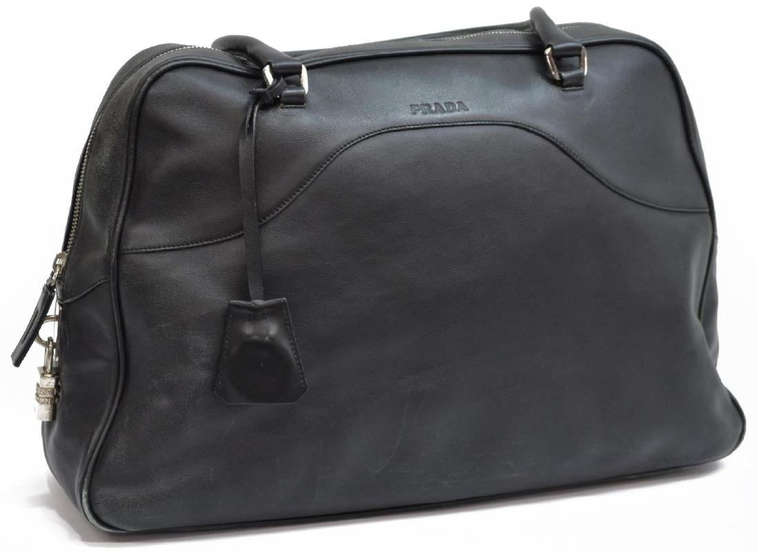 PRADA BLACK LEATHER DOUBLE HANDLED HANDBAG